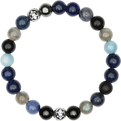 Men's Wristband with Blue Lapis, Turquoise, Dumortierite, Ag