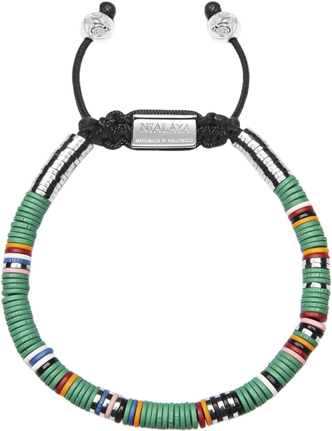 Men's Beaded Bracelet with Green Disc Beads