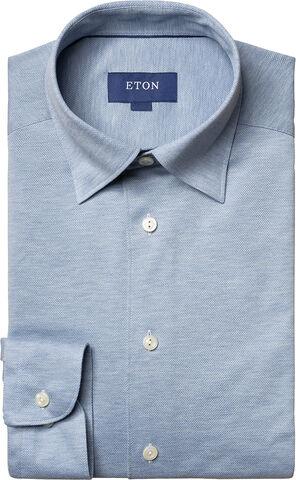 Long sleeved Light blue piqué shirt Contemporary fit