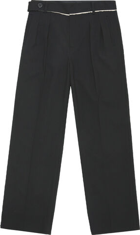 MEN RAW-CUT CONTRAST WOOL WIDE TROUSERS
