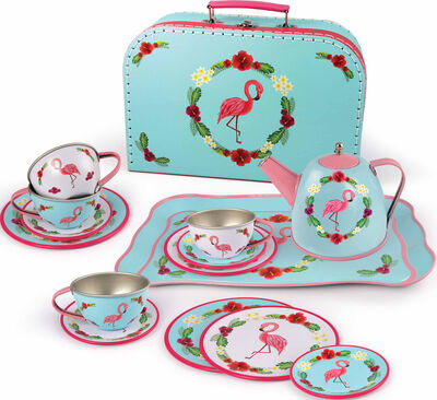 Tesæt i pink kuffert ''Flamingo'' i tin, 15 pcs.