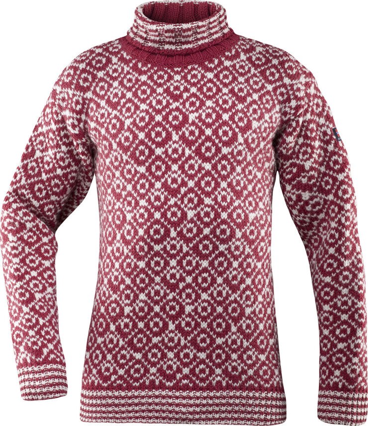Devold Svalbard Sweater High Neck, Hindberry/OffWh