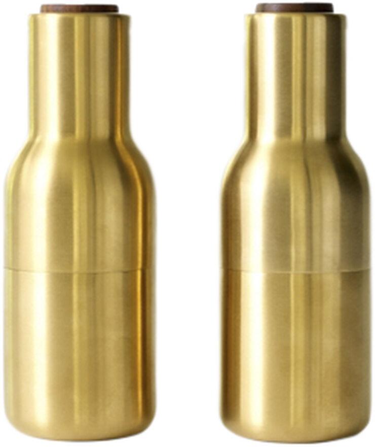 Bottle Grinder, Brushed Brass, Walnut, 2-pack