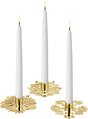 SEASONAL ICE FLOWER CANDLE HOLDER 3 PACK GOLD