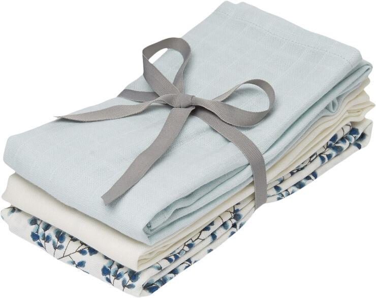 Muslin Cloth Mixed 3 Pack - Mix Fiori, Light Blue, Cream Whi
