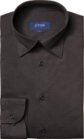 Long sleeved Dark grey piqué shirt Contemporary fit