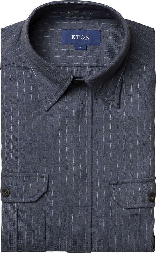 Pinstripe four-pocket overshirt casual fit