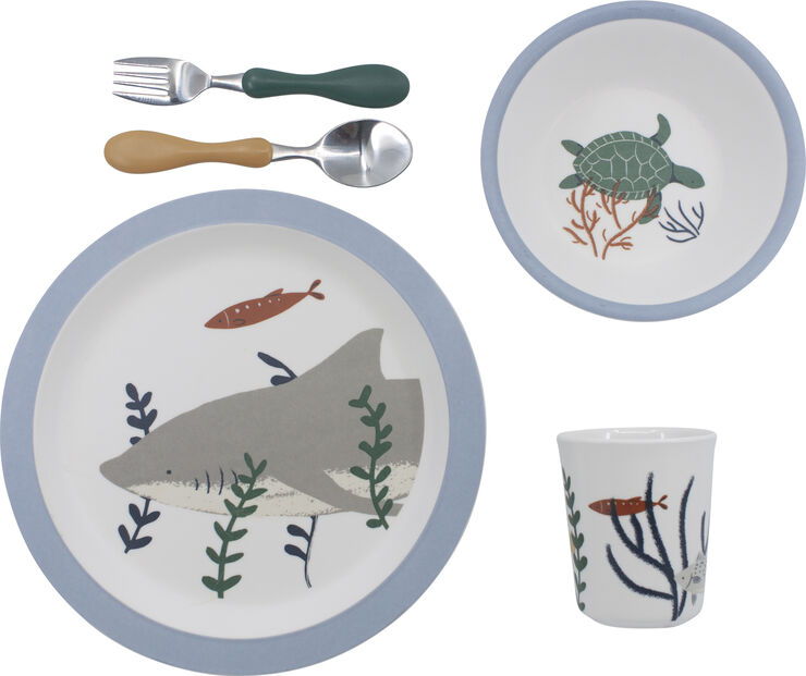 Melamin spisesæt, 5 dele, Seven Seas
