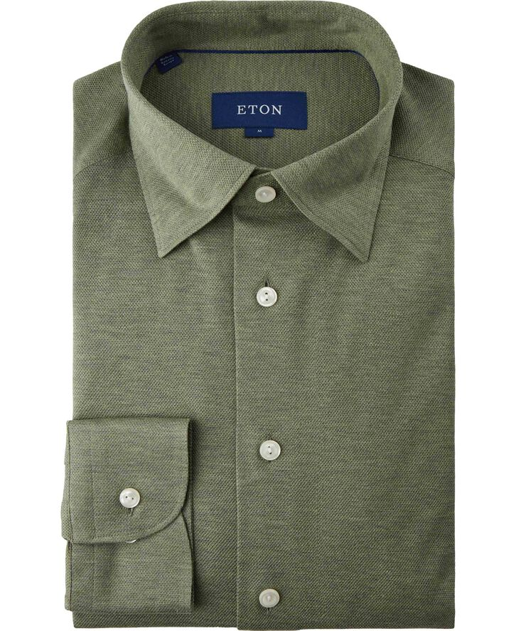 Long sleeved Olive piqué shirt Contemporary fit