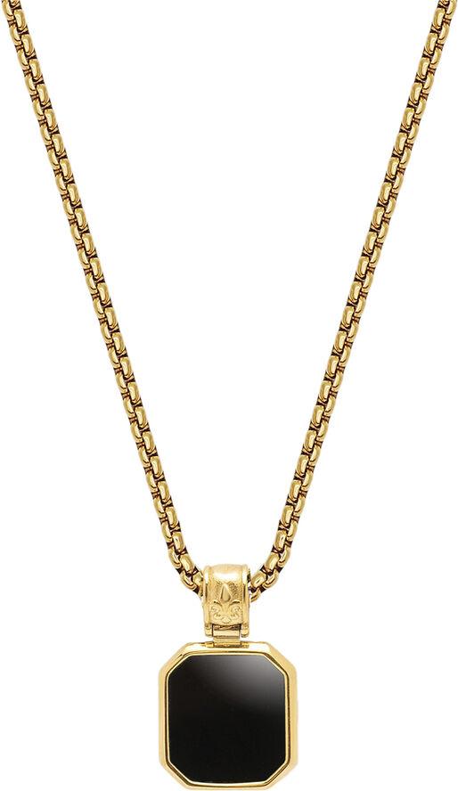 Men's Gold Necklace with Square Matte Onyx Pendant