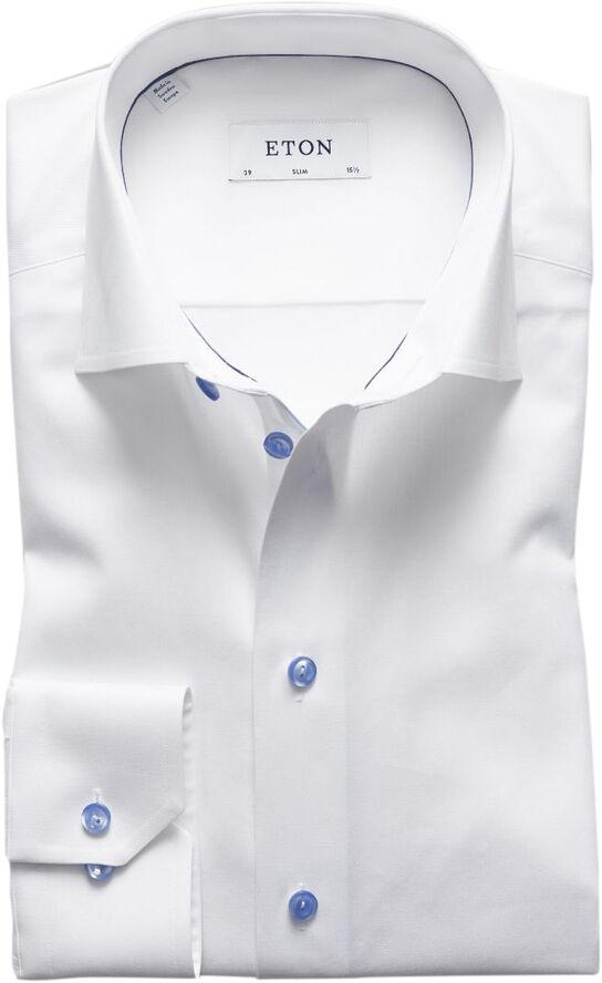 White Twill Shirt  Blue Details - Slim Fit
