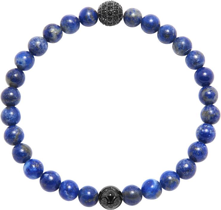 Men's Wristband with Blue Lapis and Black CZ Diamond