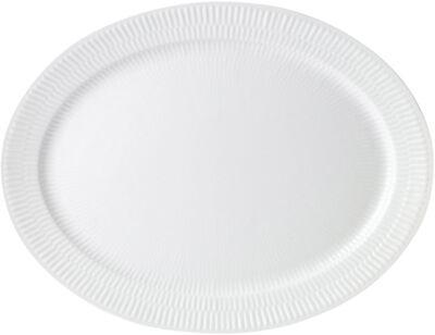 Hvid Riflet 33 cm. ovalt fad