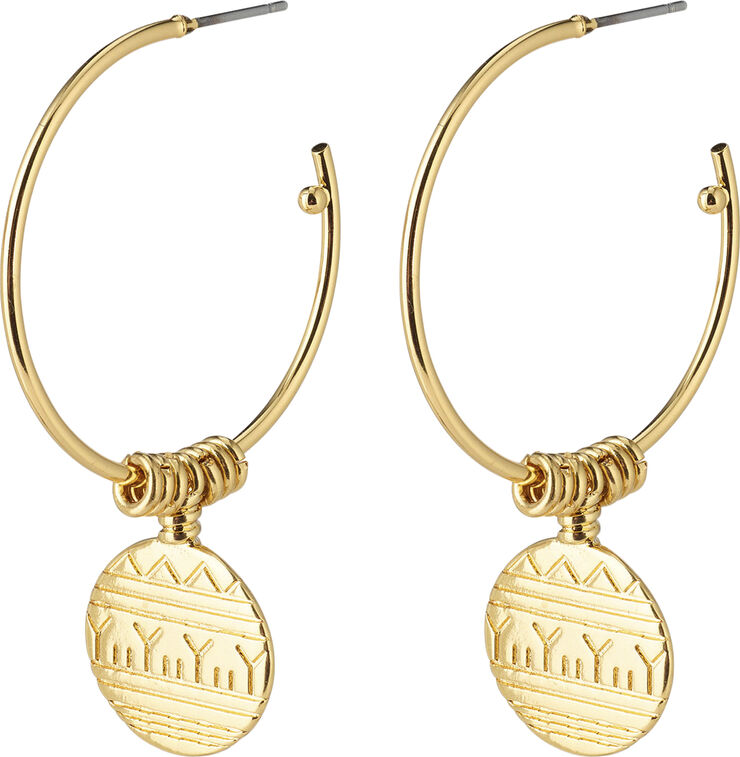 GOLD-PLATED NATIVE BEAUTY HOOPS W/ COIN PENDANTS