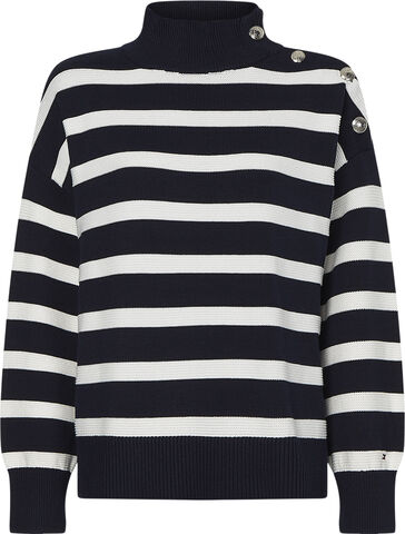 ORG CO MOCK-NK BUTTON SWEATER