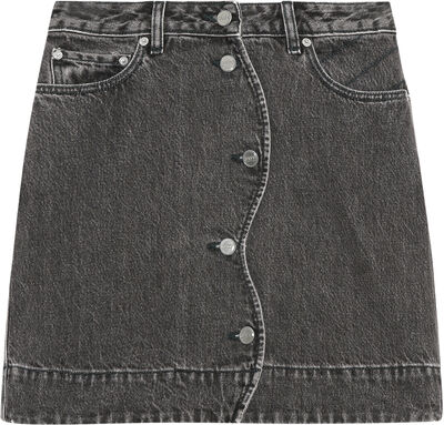 F6193 Quiltet denim nederdel