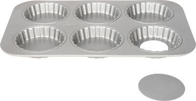 Silvertop tærteform med løse bunde til 6 tærter