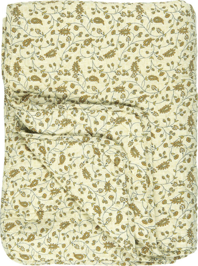 Quilt lysegul base m/gult bladmønster