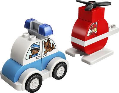 Brandslukningshelikopter og politibil