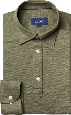 Long sleeved Olive polo shirt Slim fit