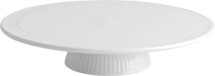 Plissé kagefad på fod hvid - 30 cm