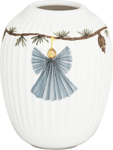 Hammershøi Christmas Vase H10,5 hvid m. deko