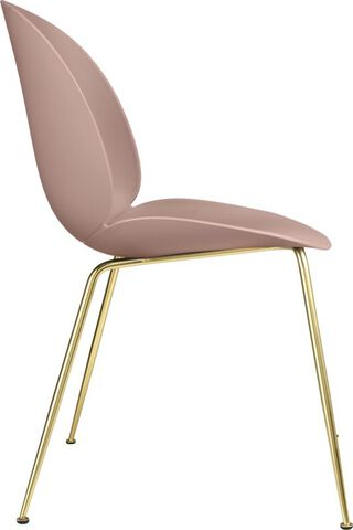 Beetle Dining Chair - Un-Upholstered, Conic base Brass Semi