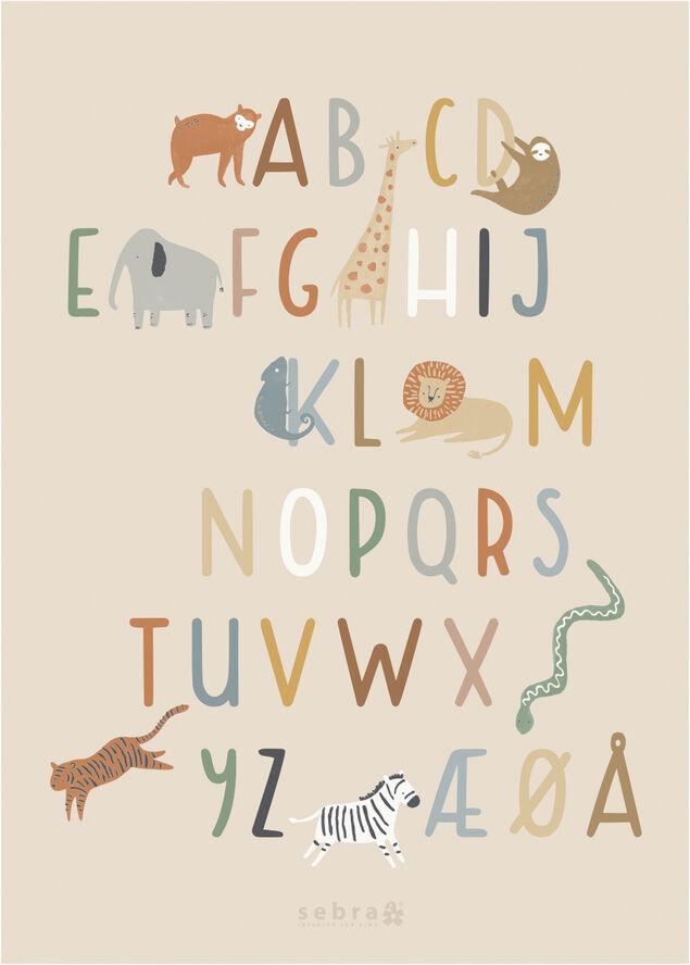 Plakat, alfabet A-Å, Wildlife