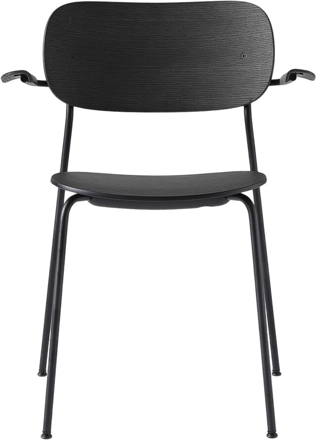 Co Chair Dining Chair, Black Steel Base, Black Oak Seat/Back w/Arms