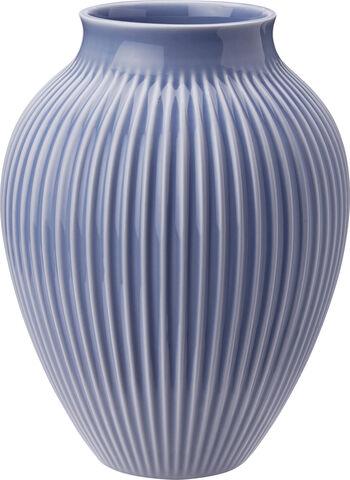 Knabstrup, vase, riller lavendelblå, 20 cm