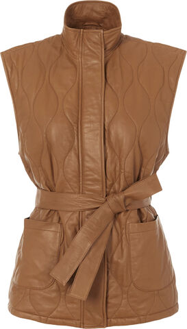 YASWENNA QUILTED LEATHER VEST