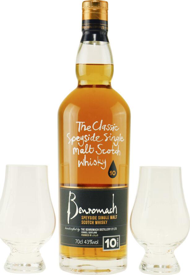 Benromach 10 years i æske med 2 Glencairn glas