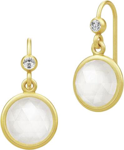 Moon  Earrings - Gold / White