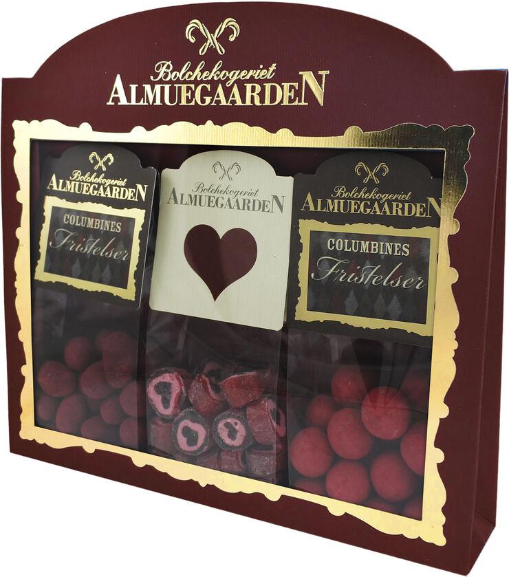 Kærligheds-Gaveæske med hjerte bolcher, hindbær choko-lakridser og hin
