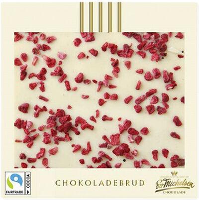 Chokoladebrud m. hvid chokolade og hindbær