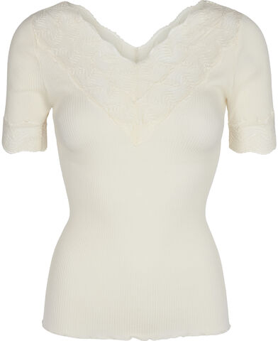 Silk t-shirt regular ss w/lace