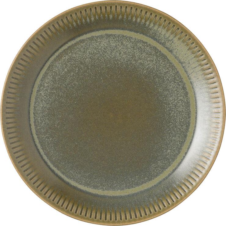 Knabstrup tallerken, olivengrøn, Ø19 cm