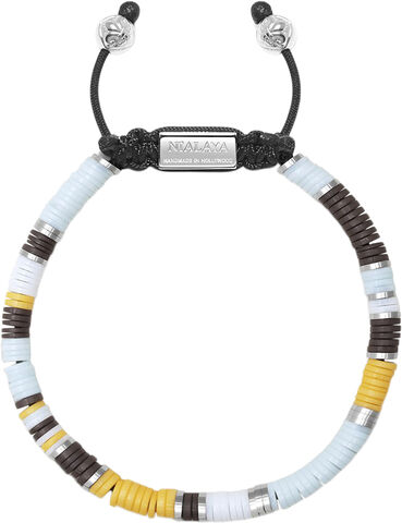 Men's Beaded Bracelet with Blue, Brown, Orange, White and Si