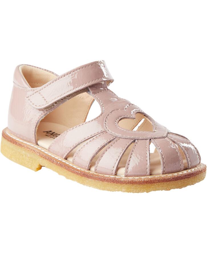 Flad sandal , velcro lukning, hjert