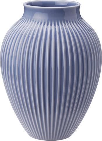 Knabstrup, vase, riller lavendelblå, 27 cm