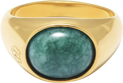 Men's Gold Oval Signet Ring with Green Jade