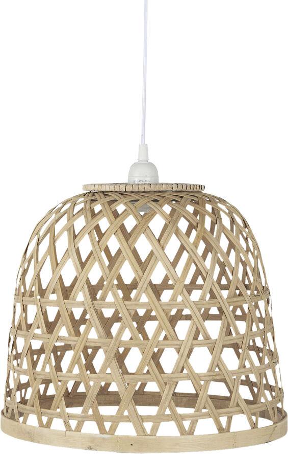 Hængelampe bambus skærm hvid plastikledning