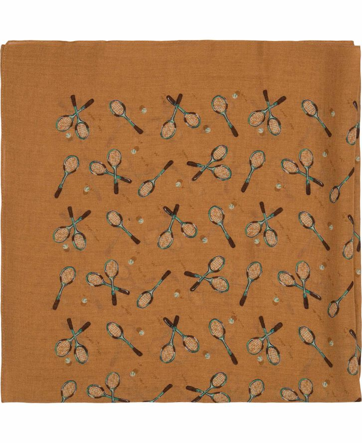 Brown Tennis Racket Print Viscose & Wool Bandana  A0003172437