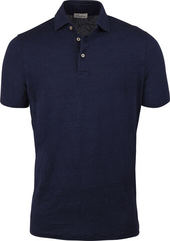 Navy Linen Polo Shirt
