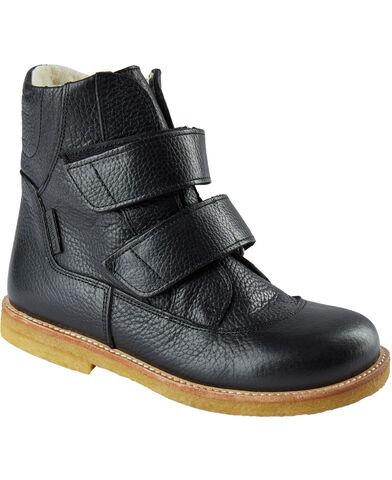Flad støvle m. velcro luk