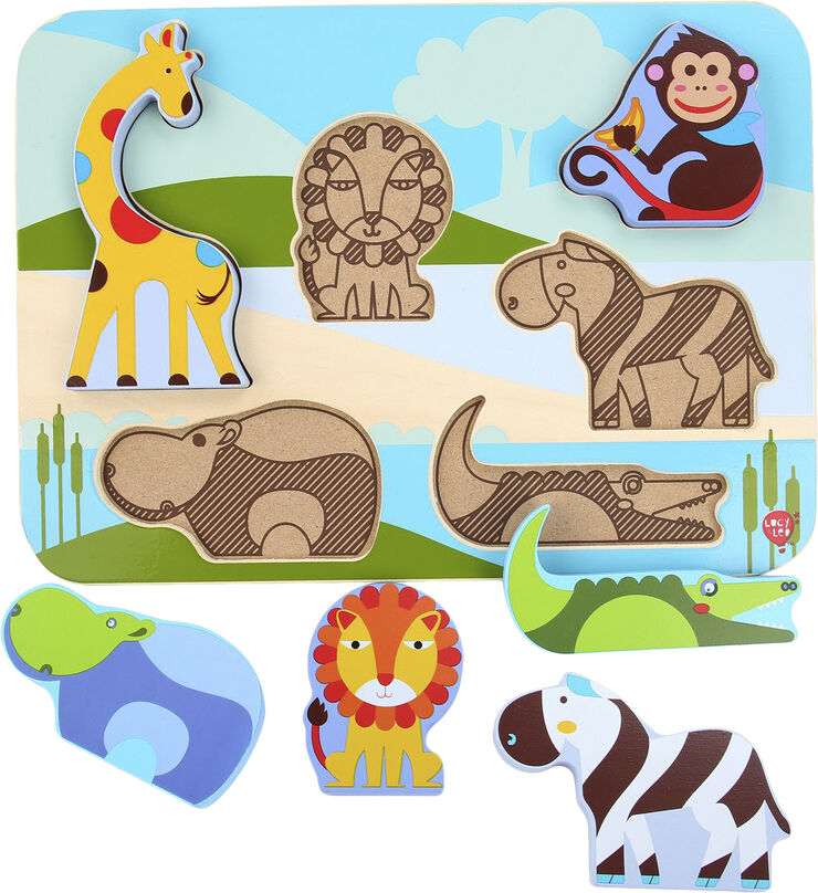 Safari animals Wooden Peg Puzzle