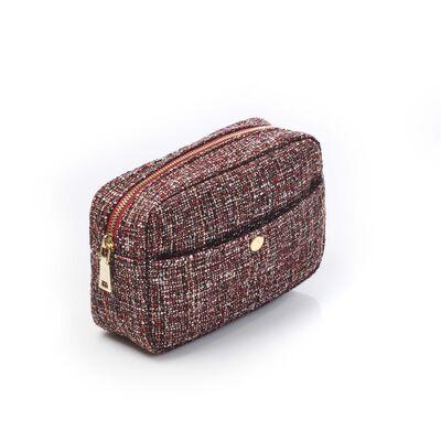 Toilettaske Tweed  rustik rød 22x15x9