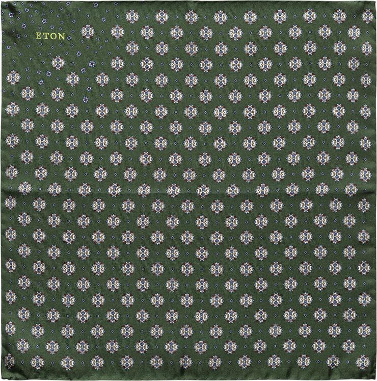 Dark Green Medallion Print Silk Pocket Square