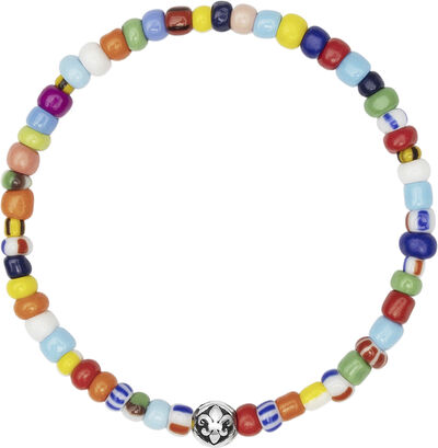 Wristband with Assorted Vintage Trifocal Beads and Silver