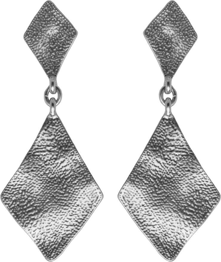 Dobbelt rhombus øreringe. Mål: 5.6 x 2.2 cm.